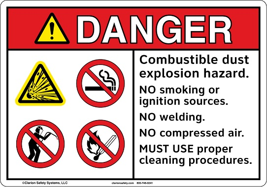 Combustible Dust Safety Sign - Clarion Safety Systems
