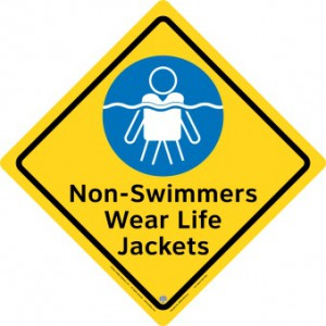 Non-Swimmers Wear Life Jackets Safety Sign