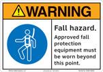 Warning Fall Hazard Safety Sign